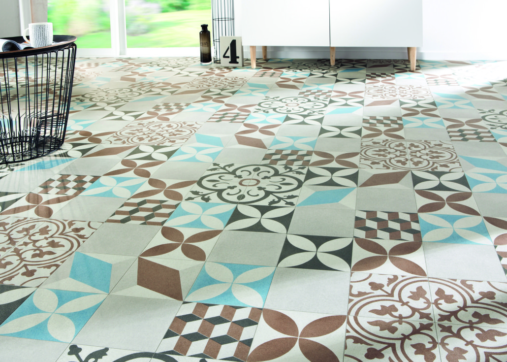 Carrelage vinyl cuisine - Dalle pvc imitation carreau de ciment ...