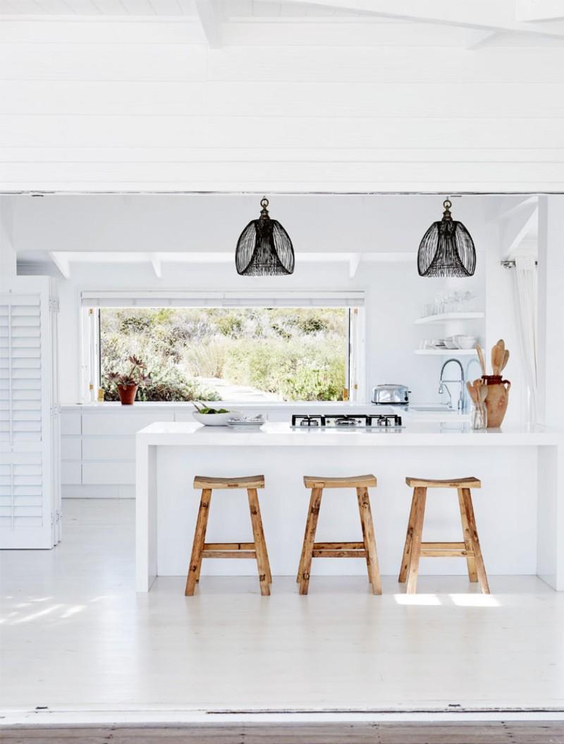 cuisine tabouret bois maison de plage moderne vacances liliinwonderland