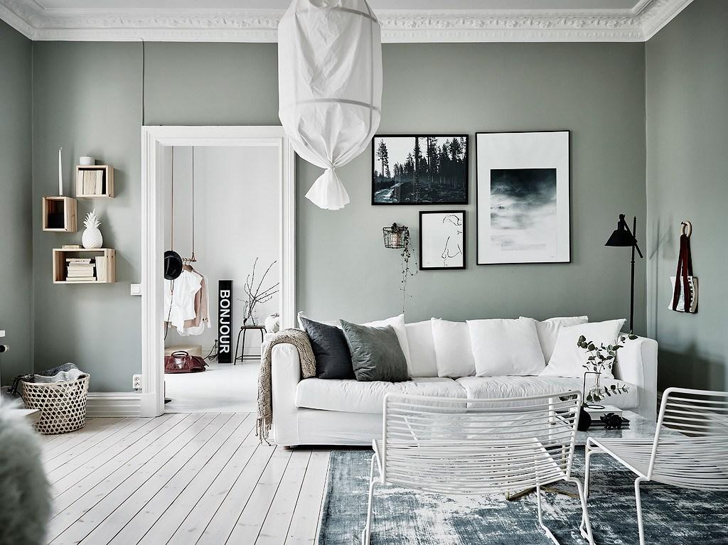 un appartement au mur vert lili in wonderland. Black Bedroom Furniture Sets. Home Design Ideas