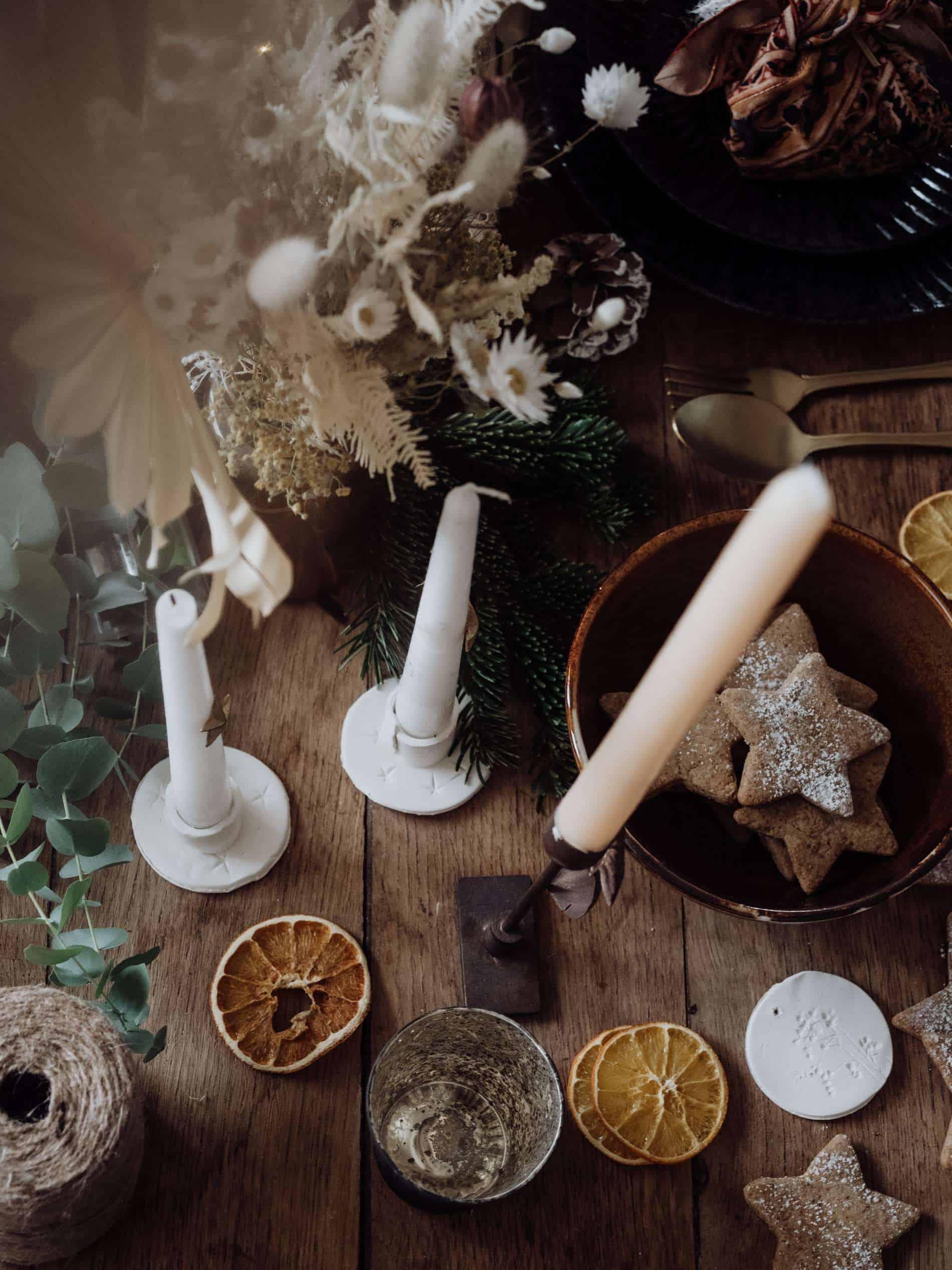 bougeoir en pâte autodurcissante diy table de Noël lili in wonderland