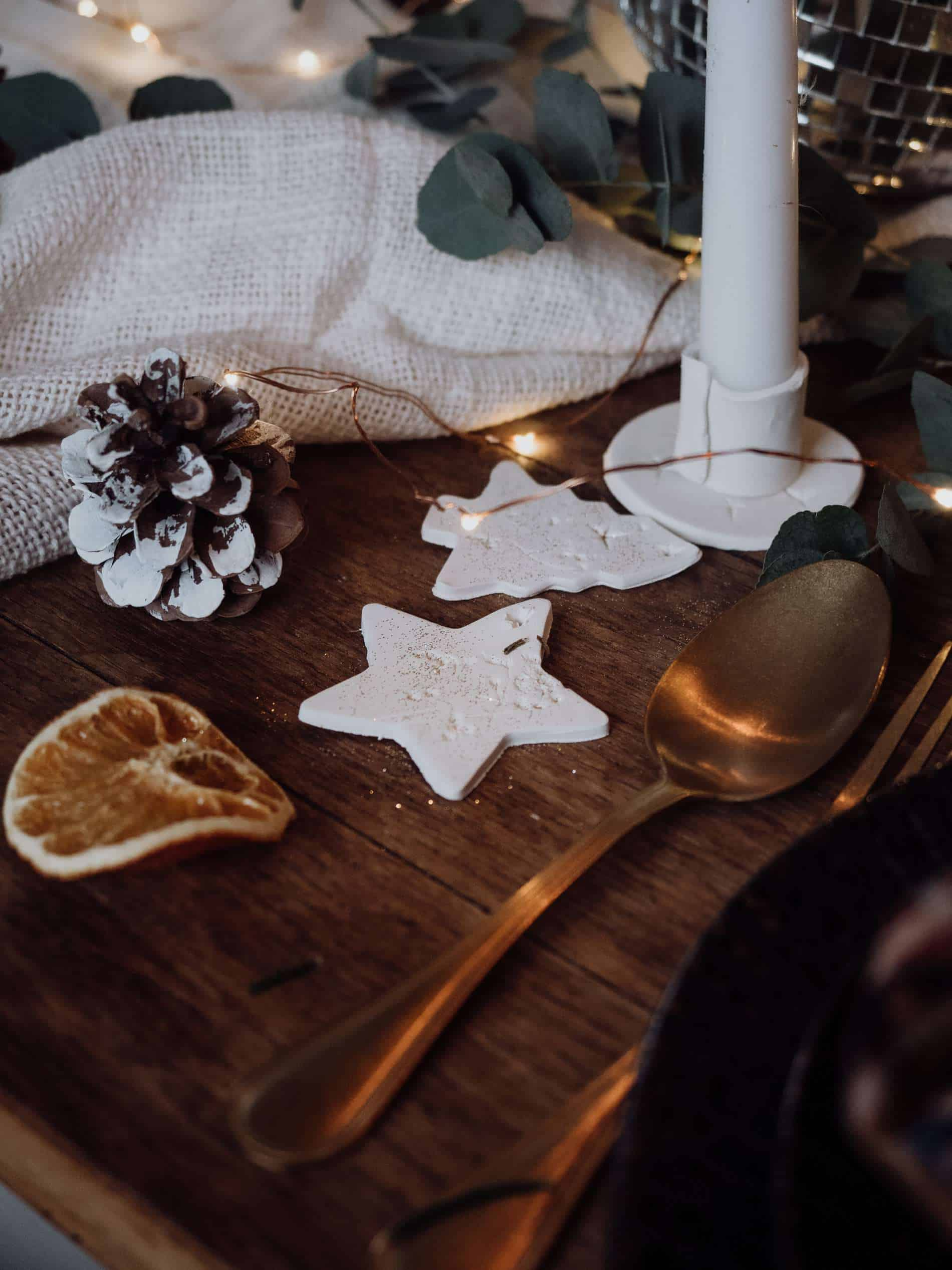 bougeoir en pâte autodurcissante diy table de Noël