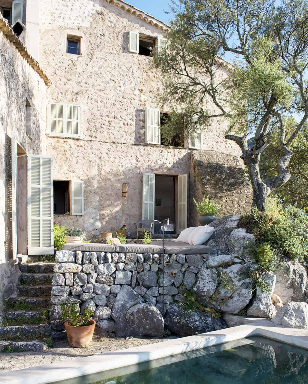 finca Son Ru Mallorca Majorque rénovation extérieur façade piscine